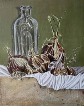 Still Life with Onions, Garlic & Bottle -- Oil on wood panel -- 20 x 16 inches
