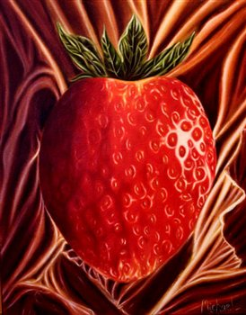 Strawberry on Satin -- Oil on canvas -- 20 x 16 inches