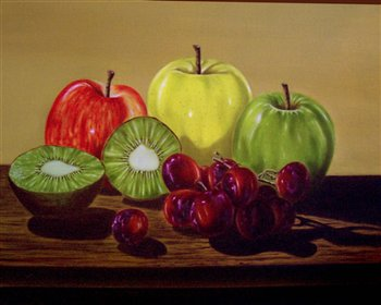 Still Life -- Apples, Grapes & Kiwi -- Oil on canvas -- 20 x 16 inches