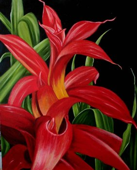 Tropical Billbergia -- Oil on wood panel -- 20 x 16 inches
