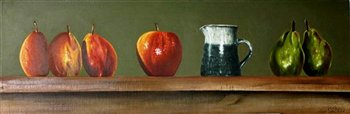 Fruit and Jug on Shelf -- Oil on wood panel -- 36 x 12 inches