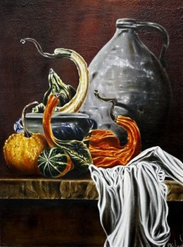 Gourds on a Shelf -- Oil on canvas -- 24 x 18 inches