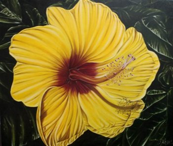 Hibiscus -- Oil on canvas -- 36 x 32 inches