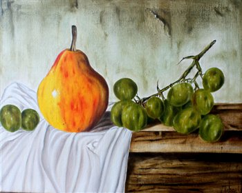 Still Life -- Pear & Grapes -- Oil on canvas -- 20 x 16 inches. Painting completed in one day. Workshop project.