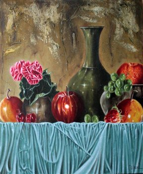 Still Life & Begonia -- Oil on canvas -- 24 x 20 inches