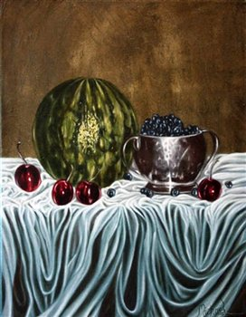 Watermelon with Cherries & Blueberries -- Oil on canvas -- 18 x 14 inches