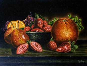 Still Life -- Mixed Bowl of Fruit -- Oil on canvas -- 20 x 16 inches