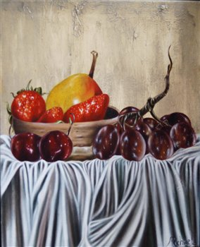 Still Life -- Pear, Grapes & Strawberries -- Oil on canvas -- 20 x 16 inches.
